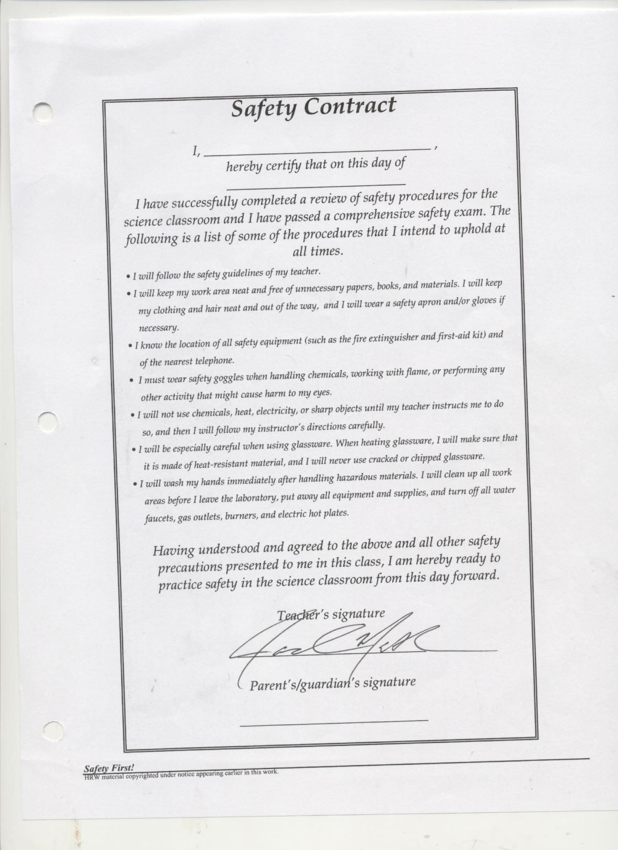 Mr. Mathews: Lab Safety Contract